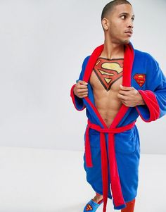 Get this Robes's dressing gown now! Click for more details. Worldwide shipping. Superman Dressing Gown - Blue: Dressing gown, Super-soft-touch fabric, Shawl collar, Superman design, Open front, Removable belt tie, Functional pockets, Machine wash, 100% Polyester, Our model wears One Size and is 189cm/6'2.5 tall. (bata, dressing gown, batin, bata, batín, morgenmantel, bata, robe de chambre, accappatoio)