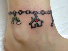 Rainbow, House and Musical Note Bracelet Tattoo