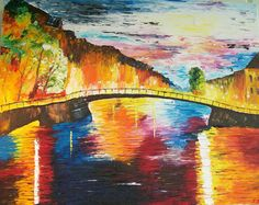 Magical Bridge  16 x 20  $400.00 Palette knife painting by Sue Schenck
