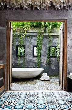 OUTDOOR BATHS | outdoor bath | Wanderlust - makes me think of pasta tiles in Mérida and mapostería walls...