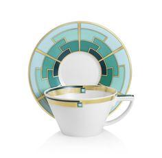 Emerald Teacup & Saucer by Vista Alegre | Michael C. Fina