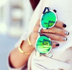 #accessories #sunglasses #mirrored #green #metallic