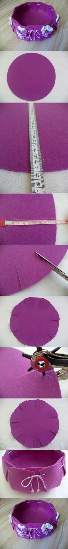 Contenitore in feltro: un tutorial semplice che non ha bisogno di parole! | This felt basket is easy to be made by cutting, punching holes and threading through. | #feltro #faidate #tutorial #facile #felt #DIY #howto