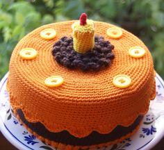 Crocheters Sunday Orange Cake Crochet Cake, Crochet Fruit, Crochet Food, Crochet Kitchen, Crochet Gifts, Cute Crochet, Pretend Food, Play Food, Crochet Wedding Favours