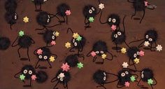 Second Hand Susie: How to Make a Studio Ghibli Soot Sprite Pom Pom, for Valentines Day.