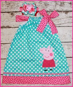 Hey, I found this really awesome Etsy listing at https://www.etsy.com/listing/400937883/peppa-pig-pillowcase-style-dress-aqua