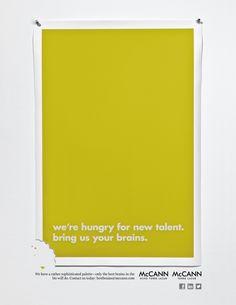"McCann Torre Lazur and McCann echo Torre Lazur for ""New Blood/Best Brains Campaign Recruitment Ads"" Guerilla Marketing, Marketing And Advertising, Online Marketing, Advertising Ideas, Advertising Campaign, Media Marketing, Creative Web Design, Creative Jobs, Online Web Design"