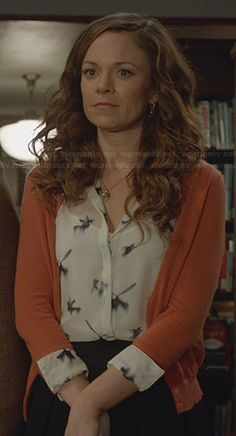 Ingrid's bird print top on Witches of East End.  Outfit Details: http://wornontv.net/23631/ #WitchesofEastEnd