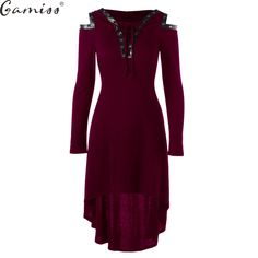 Cheap hooded dress, Buy Quality midi dress directly from China long sleeve midi dress Suppliers: Gamiss High Quality Hooded Dress 2017 Vestidos Autumn Lace Up Cold Shoulder Casual A Line Solid Ladies Long Sleeves Midi Dress