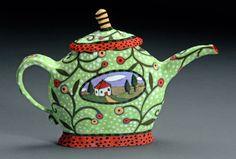green house teapot.  Nancy Gardner Ceramics.