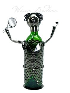Wine Racks - Tennis Player Metal Wine Bottle Holder Fabulous Genuine Hand Made Caddy * Click image to review more details.