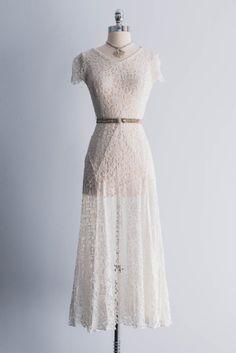 1930s Flared Lace Wedding Dress by ShopGossamer on Etsy, $187.00