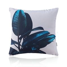 American Pastoral Simple Cotton Linen Plants Watercolor Printing Sofa Pillow Rubber Tree Pattern Cushions
