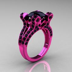 French Vintage 14K Pink Gold 3.0 CT Black Diamond Pisces Wedding Ring Engagement Ring Y228-14KPGBD - Perspective