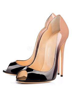 Peep Toe Heels Plus Size Leopard PU Sky High Slip On Pumps For Women / #heels #highheels #shoes #shop