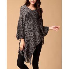 Fringe Leopard Print Bat-Wing Sleeves Cape-Style Sweater For Women