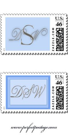 Custom #Wedding Monogram Postage with light blue - custom designs from www.perfectpostage.com  Repinned by Annie @ www.perfectpostage.com