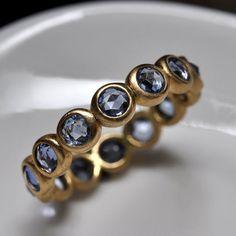 blue sapphire endless bezel ring  18k gold by Onestonenewyork, $1375.00