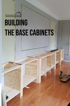 Built-in family room - the base cabinets - how to make a wall from shelves . - Built-in family room – The base cabinets – How to build a wall from shelves! Building Kitchen Cabinets, Diy Kitchen Cabinets, Built In Cabinets, Base Cabinets, Plywood Cabinets, How To Build Cabinets, Kitchen Remodeling, Built In Shelves Living Room, Built In Bookcase