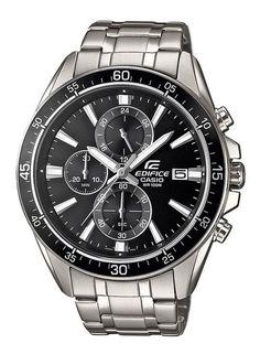 Casio Edifice Chrograaf Herenhorloge EFR-546D-1AVUEF. Een mooie en chique chronograaf. Uitgevoerd met zilverkleurige band en zwarte kast. De wijzerplaat is zwart en zowel de wijzers als index zijn oplichtend in het donker als ze kort van te voren aan licht zijn blootgersteld. De stopwach meet in 1/1 seconden tot maximaal 30 minuten. De onderkant van het horloge is een schroefdeksel. Daarom is een batterijwissel erg eenvoudig. Het horloge is tot 100 meter waterdicht.