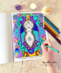 The Goddess Mandala Coloring Book is finished and available for purchase!  This project was definitely a labor of love and a beautiful journey. It's been so great to be able to connect with each Goddess through each mandala that was created. Many of the Goddess mandalas were inspired by the Goddesses you asked for, so I also feel connected to all of you throughout this journey as well. Thank you for your continued