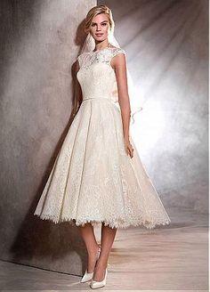 84e23f6bbd Delicate Tulle Jewel Neckline Tea-length A-line Wedding Dresses With lace  Appliques Vintage
