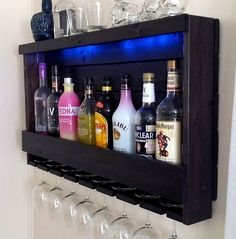 Wine Rack, RUSTIC – Liquor Cabinet – with Battery Operated LED Lights – Wine Storage – Wall Bar – The American Wine Rack – Liquor Cabinet with Optional LED Lights – Optional Glass Rack – - Gray Espresso Kitchen Cabinets Battery Operated Led Lights, Rustic Wine Racks, Glass Rack, Rustic Walls, Rustic Wood, Wine Storage, Alcohol Storage, Hidden Storage, Home Bars