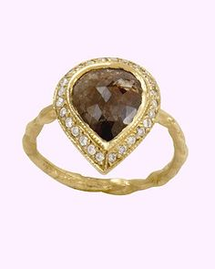 Just Jules ring: 14Kt rose cut diamond ring with pave diamond accents