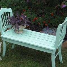 Repurposed old chairs garden bench!