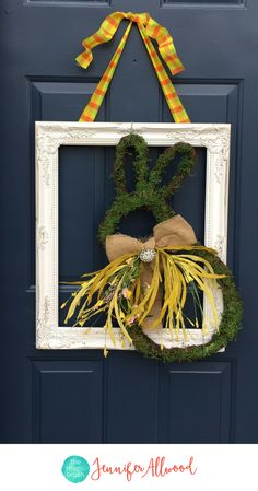 DIY Easter Wreath Ideas and Front Door Easter Decorations | Magic Brush | DIY Wreath | Repurposing Old Frames | Upcycled Frame | Easter Decor + Spring Decor + Easter Bunny