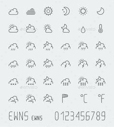 Big Weather Icons Set, Thin Line
