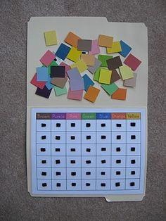 Fumbling Through Parenthood: File Folder Games - Paint Chip Color Matching. Preschool Colors, Preschool At Home, Preschool Classroom, Classroom Activities, Kindergarten, Preschool Printables, Preschool Centers, Teaching Colors, Preschool Themes