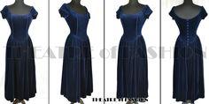 VINTAGE LAURA ASHLEY VELVET DRESS CORSET WEDDING VICTORIAN VAMP 40s 50s GOTHIC | eBay