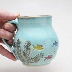 Fish Mug, Wheel Thrown Mug, Coffee Mug, Handmade Pottery Mug, Tropical Fish, MADE PER ORDER