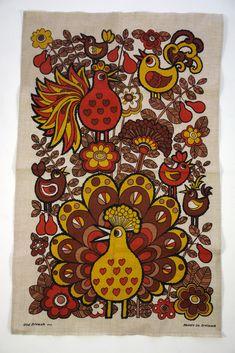 Vintage Irish linen teatowel with stylised bird decoration Sketchbook Inspiration, Creative Inspiration, Deco Retro, Retro Illustration, Illustrations, Hanging Fabric, Owl Fabric, Mid Century Modern Art, Vintage Fabrics