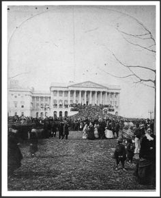 Inauguration of President Hayes, showing the Senate wing of the U.S. Capitol and the crowd on the lawn before it, March 5, 1877