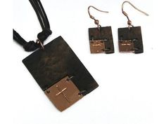 Christian Necklace & Earring Set - Rustic Faith (Bronze)