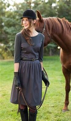 Taking its name from the most famous event in English horseracing, the smoky grey stunner wins Best in Show for superior style. A blended breed boasting equal parts high fashion and comfort, this dresss soft neckline and sleeves cut in comfy ribbed jersey are offset by a sweetheart-seamed body in smooth charcoal satin. Paired beautifully with everything from flat riding boots to high pumps, you can place a confident bet on the Grand National to keep your look current, classic and…