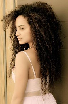 long natural curly hair