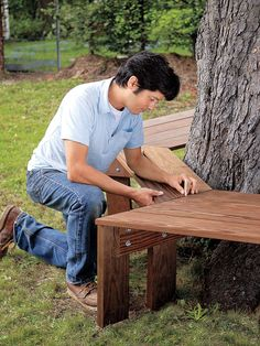 DIY tree trunk bench via This Old House Tree Seat, Tree Bench, Bench Around Trees, Outdoor Garden Bench, Outdoor Benches, Garden Benches, Making A Bench, Pergola, Build A Table