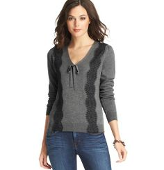 Lace Trim Bow Neck Sweater | Loft