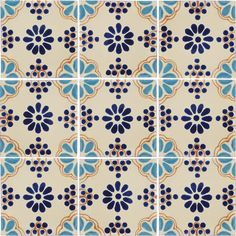 Turquoise & Blue Lace Mexican Tile by Talavera Tiles
