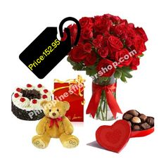 Send 24 Red roses in Vase with Lindt: Lindor Swiss Chocolate pcs and small brown teddy bear among with round black forest cake from red ribbon. only make a visual treat but also a perfect gift item for your dear ones. Online Gift Shop, Online Gifts, Swiss Chocolate, Brown Teddy Bear, Black Forest Cake, Cake Flowers, Red Ribbon, Red Roses, Philippines
