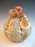 Barnacle vase with three pinched coral openings. Barnacle glaze and shino. Real pearls and a real shell added. Real Pearls, Pottery Vase, Art Projects, Christmas Bulbs, Coral, Ceramics, Holiday Decor, Pots, Shell