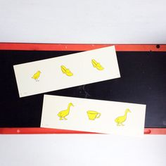 Retro Pair of White & Yellow Rectangular Shaped by JunctionARow