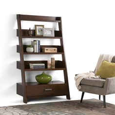 Deanna Ladder Shelf in Medium Auburn Brown - Simpli Home ample space to display your favorite books or framed photos, the Deanna Leaning Ladder Shelf bookcase is the perfect piece to personalize your living room, study, or office. Wood Ladder Shelf, Ladder Bookshelf, Cube Bookcase, Solid Wood Shelves, Etagere Bookcase, Bookshelves, Standing Shelves, Thing 1, Living Room Furniture