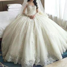 Luxus Kathedrale Zug Ballkleid Brautkleider 2016 Sheer Vorderseite Rückseite Lace Long Sleeves Brautkleider Vestido De Novias Prinzessin