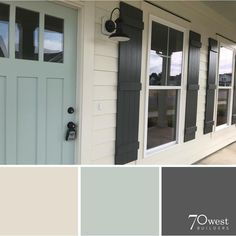 exterior paint colors- SW Oyster White, Peppercorn, and Copen Blue Looove the front door color Exterior Paint Colors For House, Paint Colors For Home, Outside House Paint Colors, Farmhouse Exterior Colors, Exterior Paint Ideas, Front Door Paint Colors, Farmhouse Shutters, Outdoor House Colors, Outdoor Paint Colors