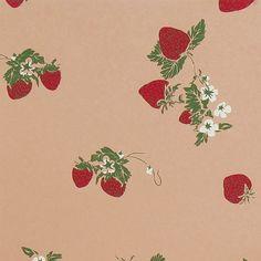 Tan Strawberries Gift Wrap