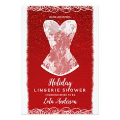 Glam Red & White Holiday Lingerie Shower Party Card - Xmascards ChristmasEve Christmas Eve Christmas merry xmas family holy kids gifts holidays Santa cards